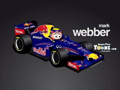 Марк Уэббер Red Bull RB8 Grand Prix Toons 2012