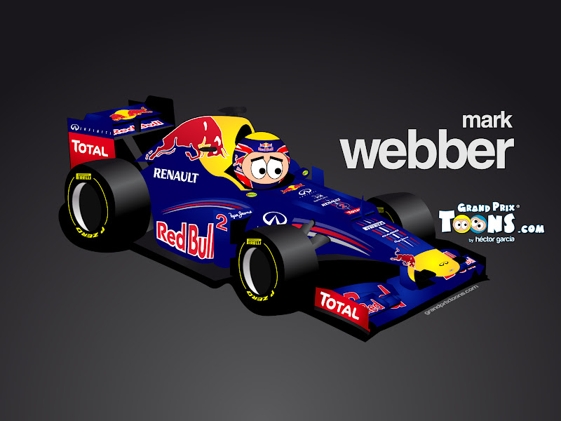 Марк Уэббер Red Bull RB8 Grand Prix Toons 2012