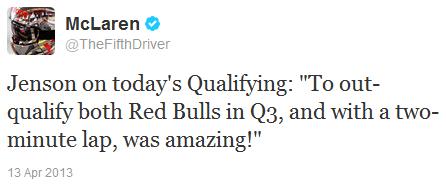 комментарий Дженсона Баттона после квалификации на Гран-при Китая 2013