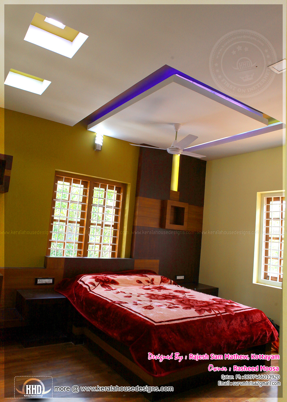 Green Bedroom Interior Yellow Ceiling