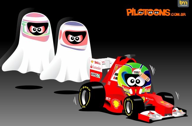 pilotoons Фелипе Масса и призраки Ярно Трулли и Рубенса Баррикелло позади его Ferrari