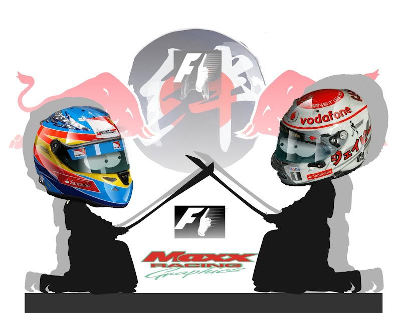Фернандо Алонсо и Дженсон Баттон сражаются на самурайских мечах на Сузуке - иллюстрация Maxx Racing по Гран-при Японии 2011