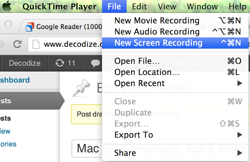 Quicktime screencast