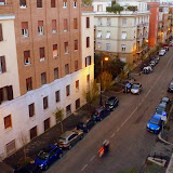 Looking Down The Street From Our Hotel Rooftop Terrace - Rome, Italy