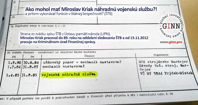 Ako mohol mať Miroslav Kriak náhradnú vojenskú službu?! a pritom vykonávať funkcie v štátnej bezpečnosti?