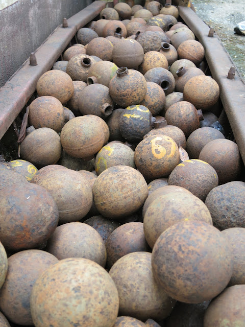 Bomblets shown in a cluster bomb.