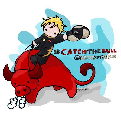 Кими Райкконен на быке Red Bull - комикс SuziKute перед Гран-при Испании 2012