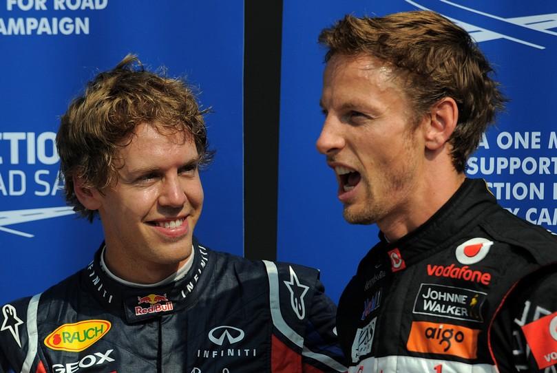 Себастьян Феттель и Дженсон Баттон с открытым ртом после квалификации на Гран-при Италии 2011