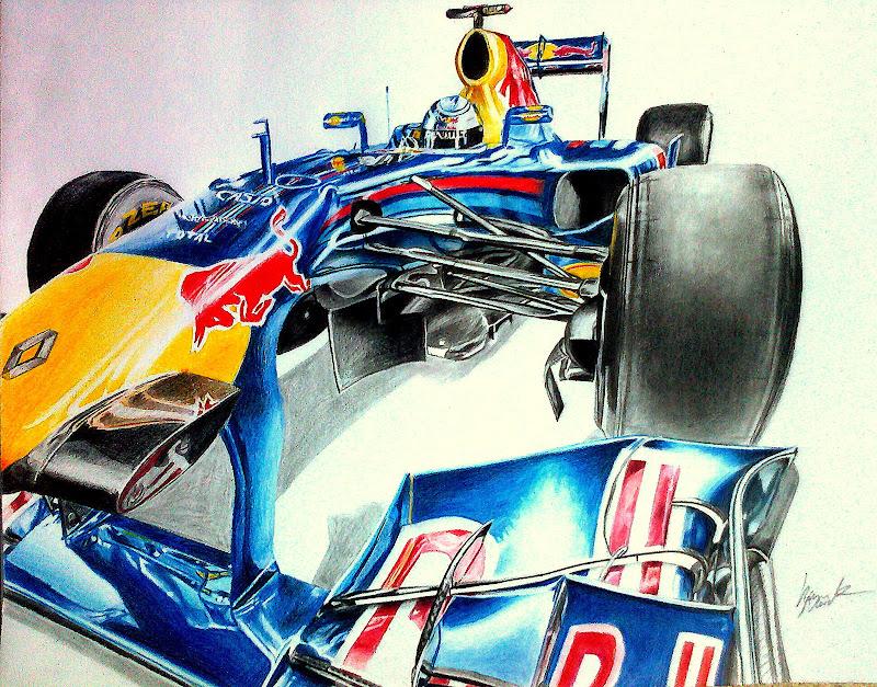 рисунок болида Себастьяна Феттеля Red Bull RB7 2011 от Galbatore