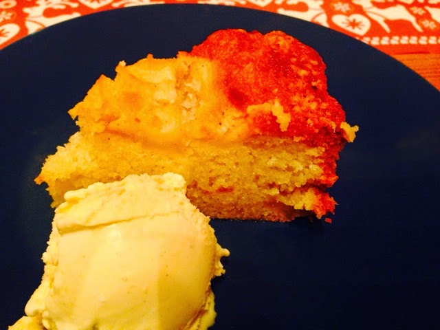 Brandy apples and almond cake with vanilla ice-cream
