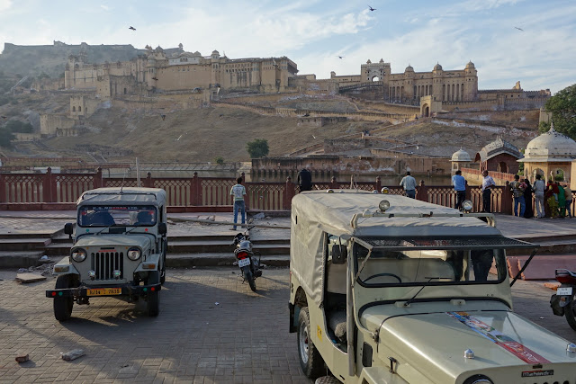 Jeeps ready to take visitors to Amber Fort.