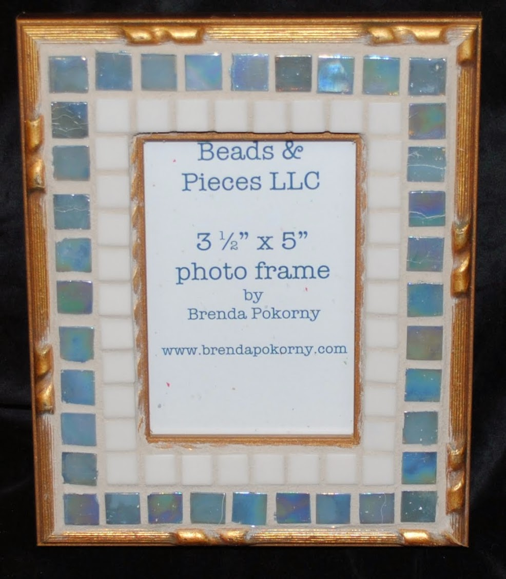 "Smoke Blue & Ivory 3 1/2"" x 5"" Mosaic Photo Frame MOF1381"