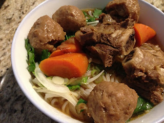 Pho Noodles with Beef Balls, Carrots & Beef Ribs
