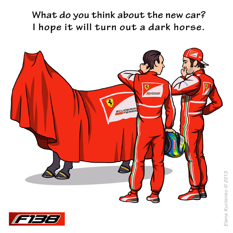 Фелипе Масса и Фернандо Алонсо знакомятся с новой Ferrari F138 - комикс Elena Kurilenko