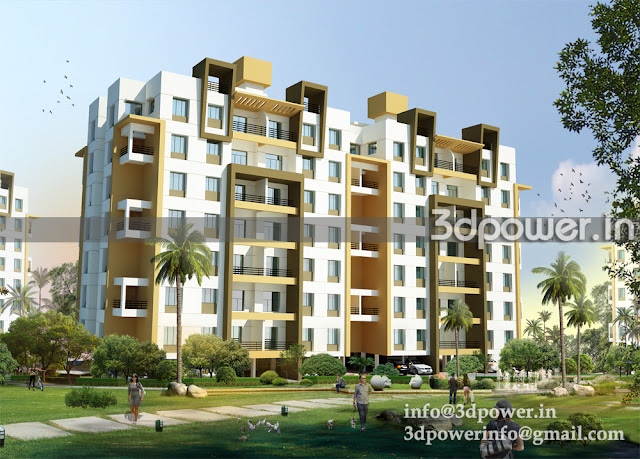 3D view of Apartment Building B Type with a garden view.