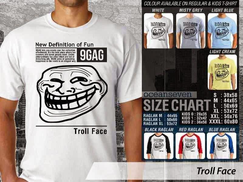 Jual Kaos 9Gag Lucu Meme Troll Face distro ocean seven