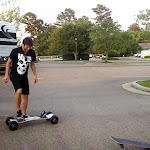 at a pit stop between shows we pulled out the boards again...this time Aaron tried my new land-board