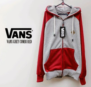 Jaket Vans Grey Combi Red