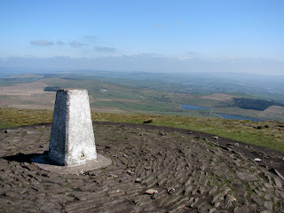 Pendle Hill Trig Point with Black Moss Reservoirs