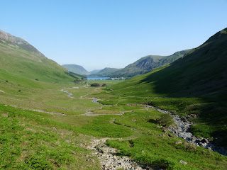 A good view looking back down Warnscale and the Buttermere valley before we started to ascend. Mellbreak (left) and Rannerdale Knotts (right) are seen far down the valley.