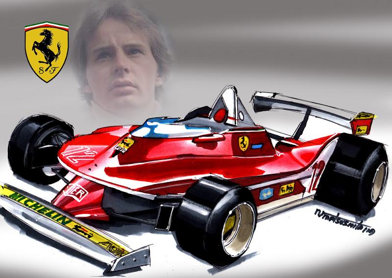 рисунок болида Жиля Вильнева Ferrari 312T4 (1979) by matsushita