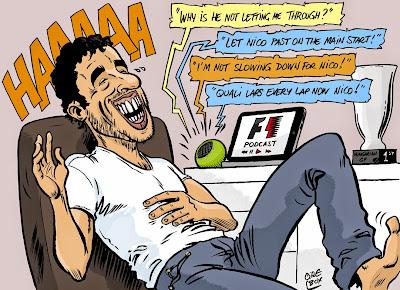 Даниэль Риккардо смеется над радиопереговорами Mercedes - комикс Cirebox по Гран-при Венгрии 2014