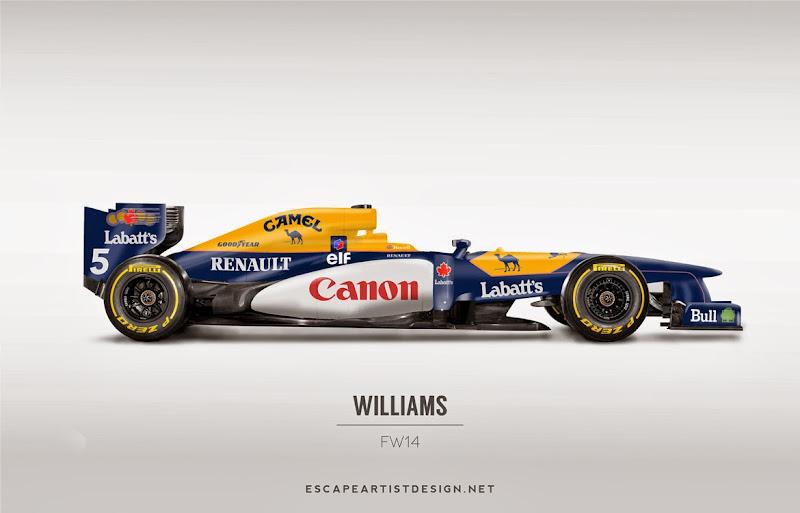 современный болид в раскраске Williams FW14 - Escape Artist Design