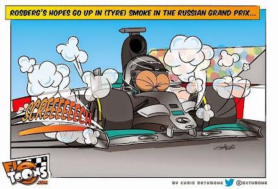 Нико Росберг перетормаживает в Сочи - комикс Chris Rathbone по Гран-при России 2014