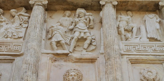 Carvings on the temple walls at Aphrodisias, Turkey