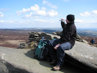 Richard at Back Tor admiring the view