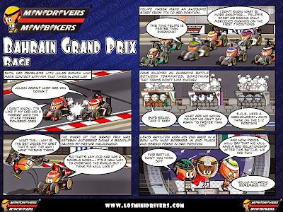 комикс MiniDrivers по гонке на Гран-при Бахрейна 2014