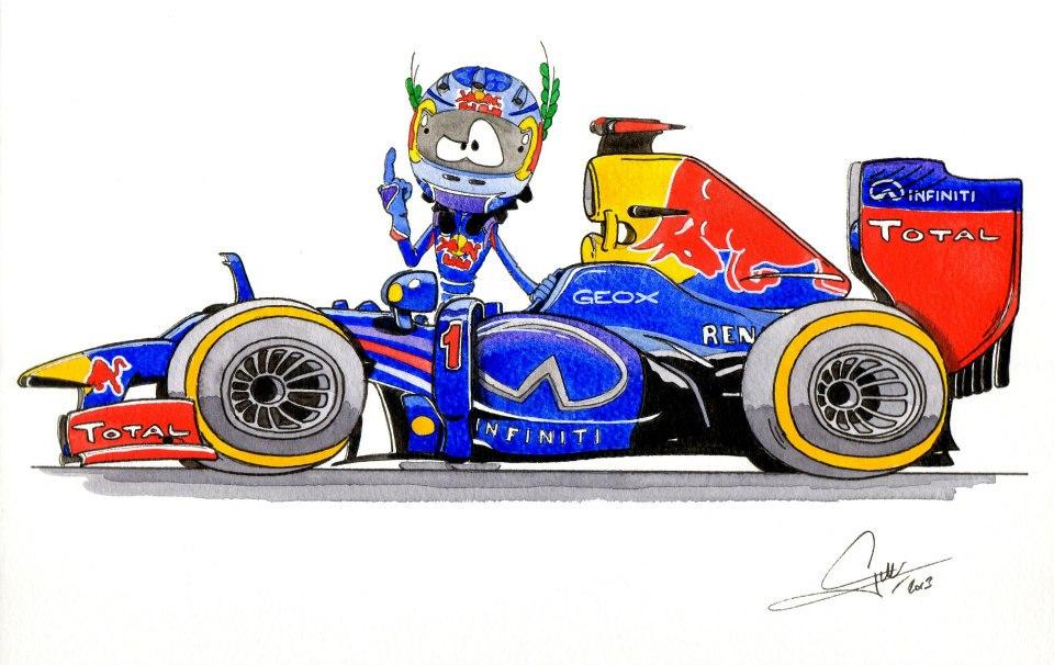 Себастьян Феттель Red Bull 2013 - комикс Quentin Guibert
