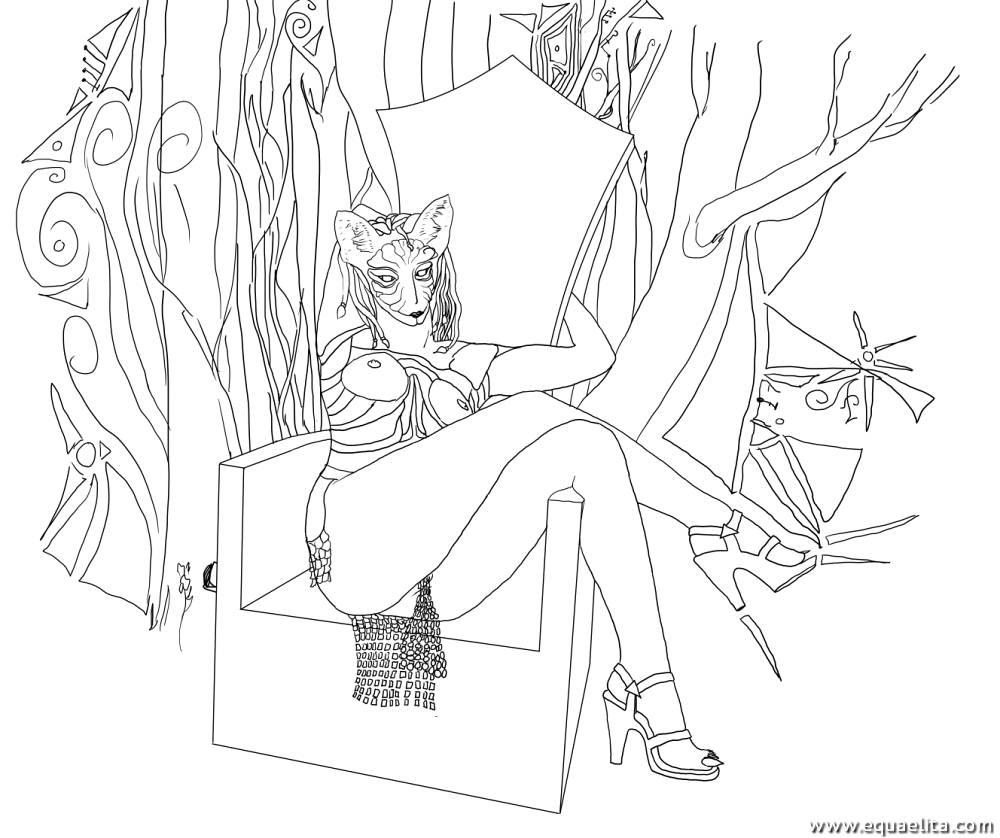 Адживика на троне, скетч
