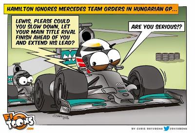 Льюис Хэмилтон игнорирует приказ пропустить Нико - комикс Chris Rathbone по Гран-при Венгрии 2014