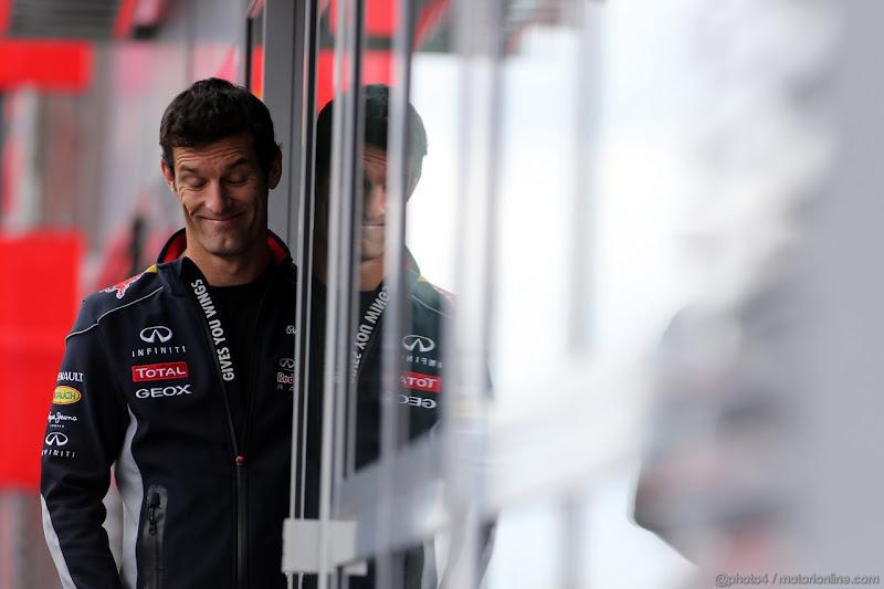 улыбающийся Марк Уэббер на Гран-при Германии 2013