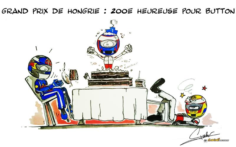 Дженсон Баттон побеждает на своем 200-ом Гран-при на Хунгароринге - комикс от Quentin Guibert по Гран-при Венгрии 2011