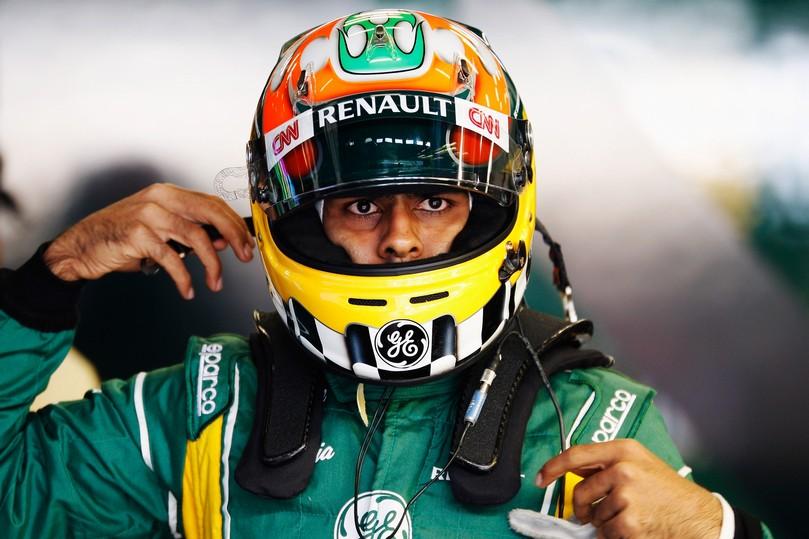 серьезный Карун Чандхок на Нюрбургринге на Гран-при Германии 2011
