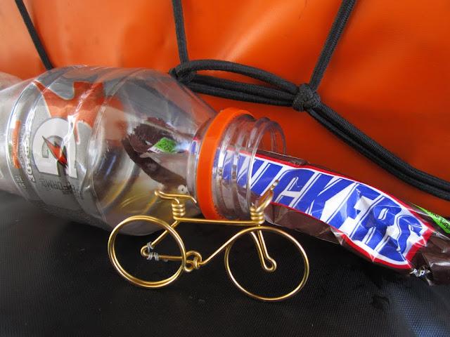 to bike one needs Snickers and Gatorade
