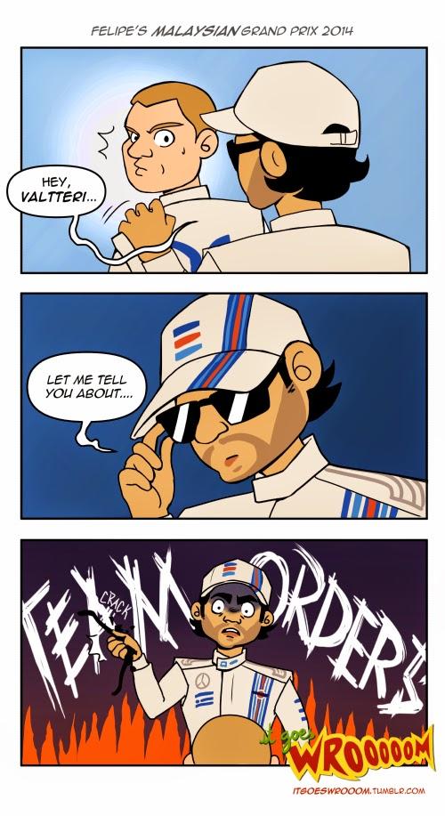 Фелипе Масса учит Вальтери Боттаса командным приказам на Гран-при Малайзии 2014 - комикс It Goes Wrooom
