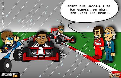 Нараин Картикеян выносит Себастьяна Феттеля и Дженсона Баттона с трассы на Гран-при Малайзии 2012 - комикс aleXstep