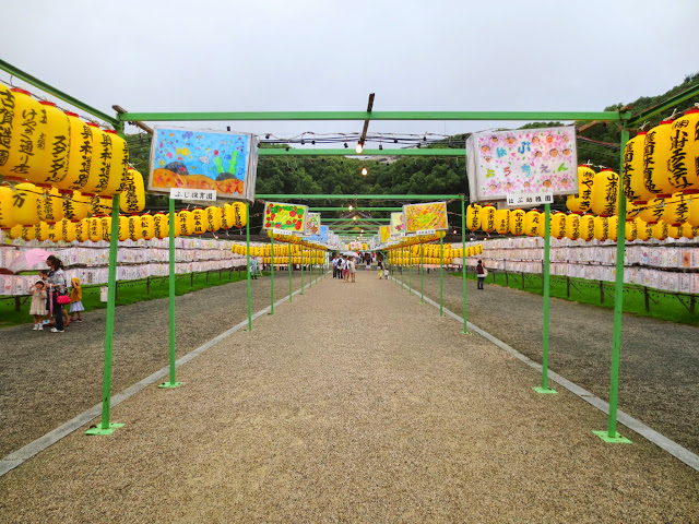 The lanterns on display at the Gokoku Shrine Mitama Matsuri