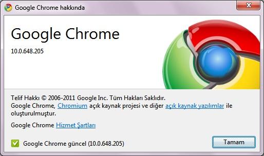 Google Chrome 10.0.648.205 Güncelleme