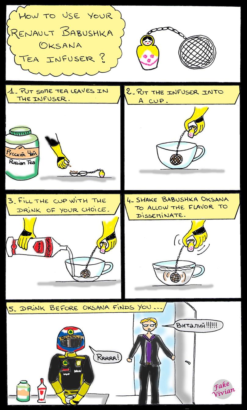 комикс Renault Babushka Oksana Tea Infuser про заварник Виталия Петрова от FakeVivian