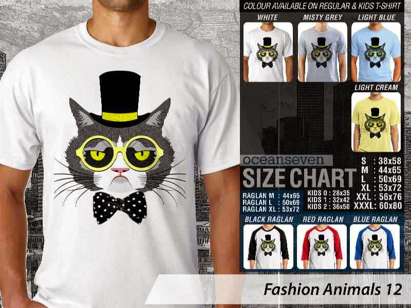 Kaos Fashion Animals 12 Binatang Kucing Cat distro ocean seven