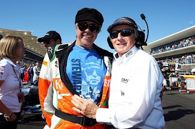 Нил Дики и Джеки Стюарт на стартовой решетке Гран-при США 2012