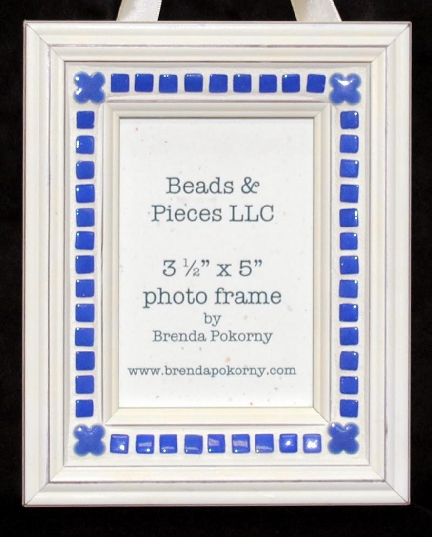 "Periwinkle Florets 3.5"" x 5"" Mosaic Hanging Photo Frame MOF1384"