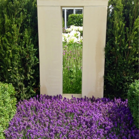 Lavandula, Taxus edges, Agapanthus, Verbena - RHS Hampton Court Flower Show 2014 - Photo by Noemi Mercurelli