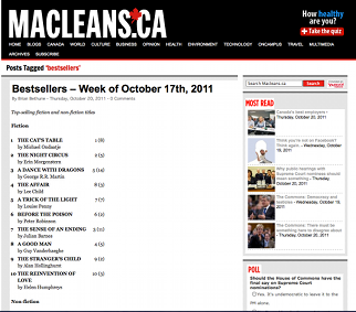 Memoirs of an Addicted Brain on Macleans bestsellers list