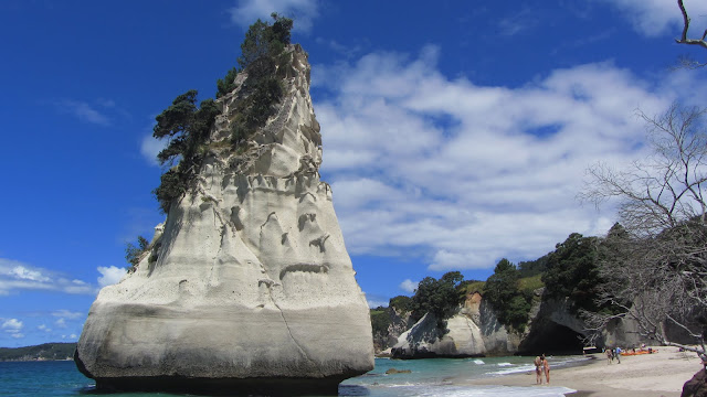 Limestone formations at Cathedral Cove.