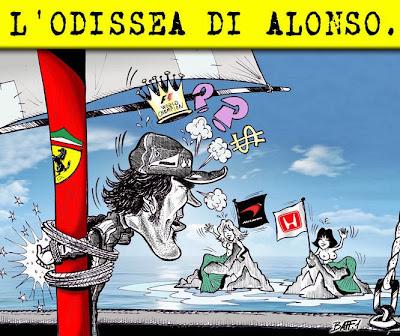 McLaren Honda - одиссея Фернандо Алонсо - комикс Baffi
